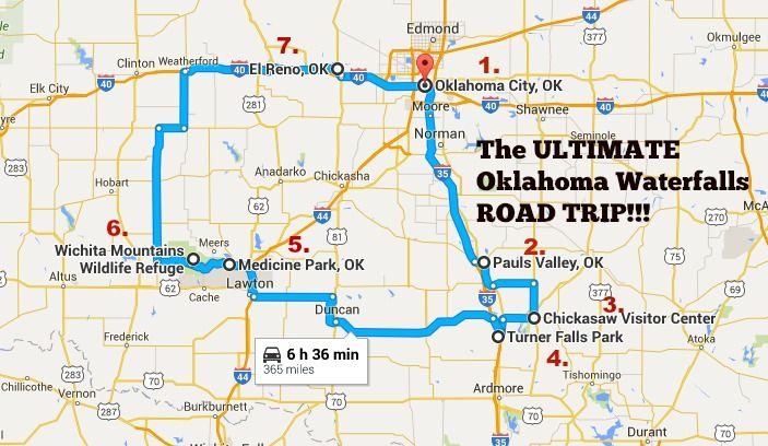 We've mapped out the perfect road trip to see some of Oklahoma's most beautiful waterfalls, scenery and fun stops along the way.