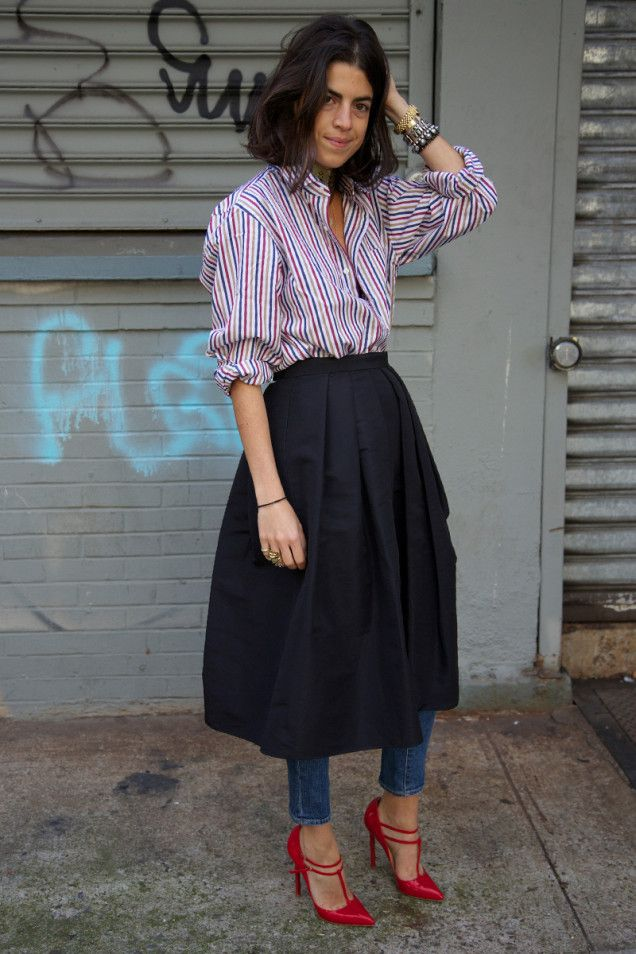 Leandra doing a Yasmin Sewell with a skirt over pants number. interesting. NYC.