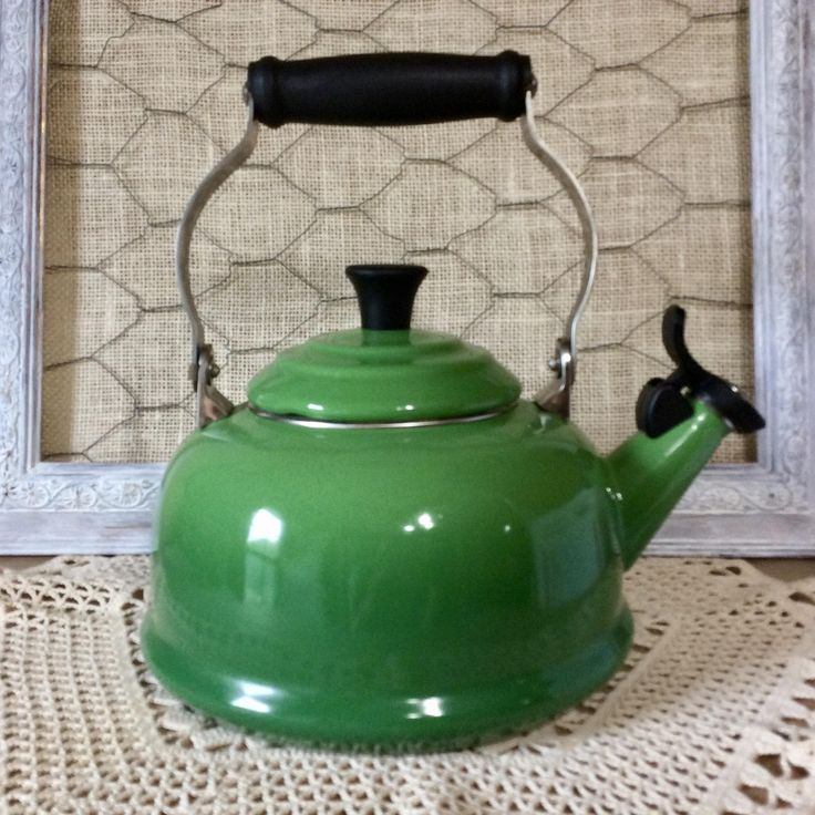 Le Creuset Classic Enamel on Steel 1.7 Qt. Whistling Tea Kettle - Green - Made in France by CottonTopVintage on Etsy