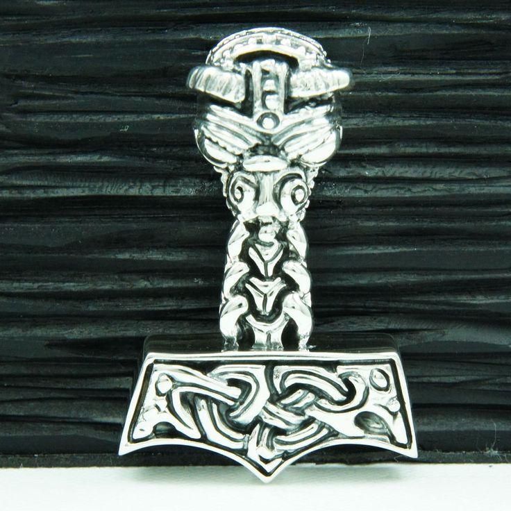 VIKING KING'S CELTIC HAMMER 925 STERLING SILVER BIKER GOTHIC PENDANT tan-058
