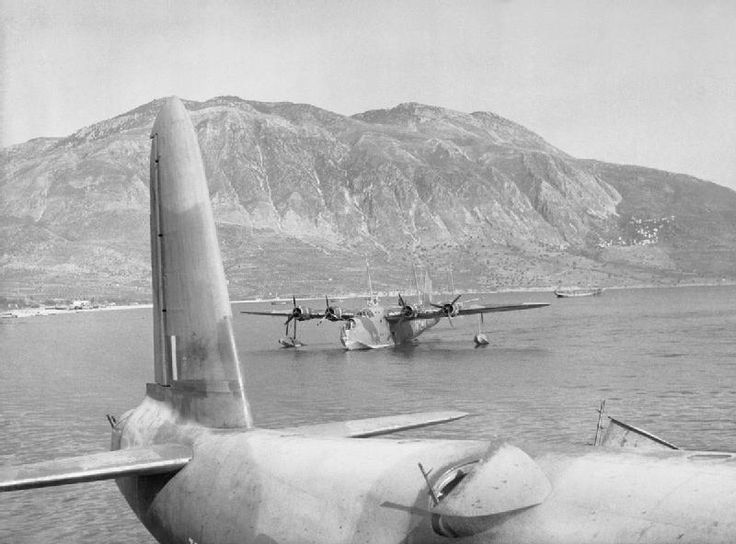 RAF Sunderland flying boats in Kalamata Harbor waiting to pick up British troops for evacuation, Kalamata, Greece, Apr 28, 1941. (Imperial War Museum)