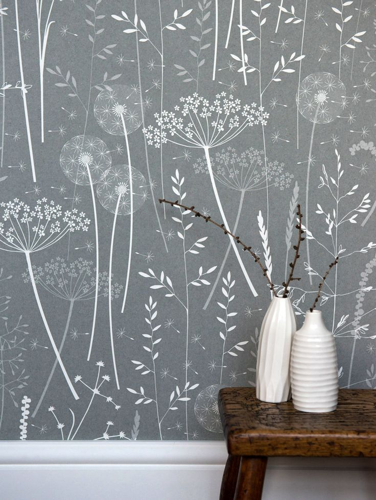 Paper Meadow Wallpaper - Charcoal. This design by Hannah Nunn will suit both town house or rustic country home, giving you a nostalgic feeling of the English countryside. Available in three versatile colours of teal blue, kraft paper or charcoal.