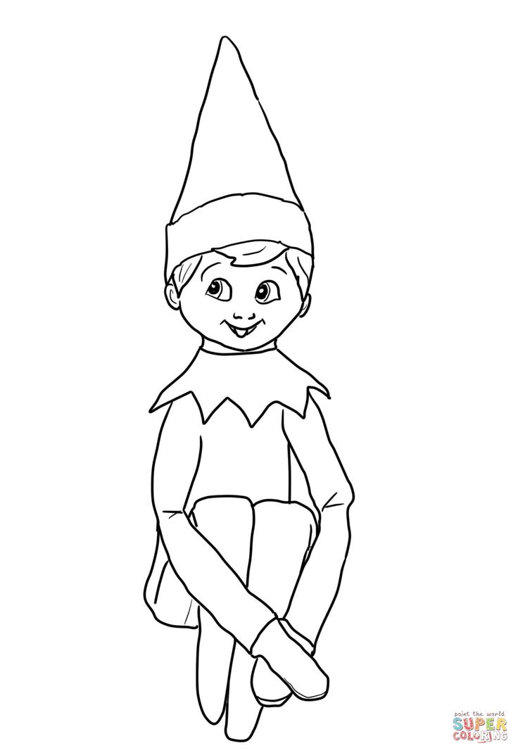 Printable coloring pages elf - Christmas Elf On Shelf Coloring Page From Elf On The Shelf Category Select From 24629 Printable Crafts Of Cartoons Nature Animals Bible And Many More