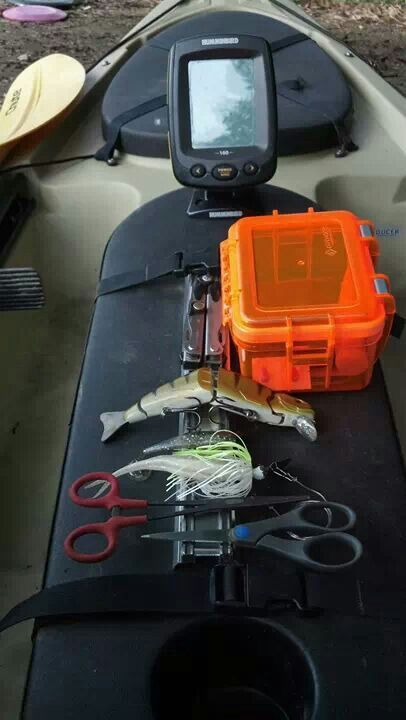 Fishing Kayak Mods- Ocean Kayak. Cool idea with magnetic strip and Velcro or another magnetic strip for the box.