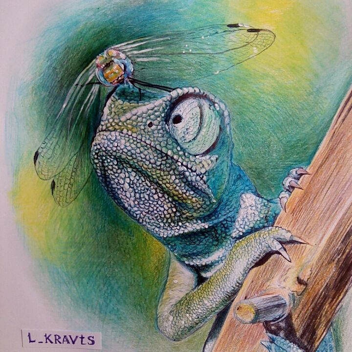 Art work colored ballpoint pens and colored pencils. Chameleon and Dragonfly. #artwork #ballpointpens #coloredpens #colourpencils #fabercastell #chameleon #dragonfly  #l_kravts #lyudmilakravtsova