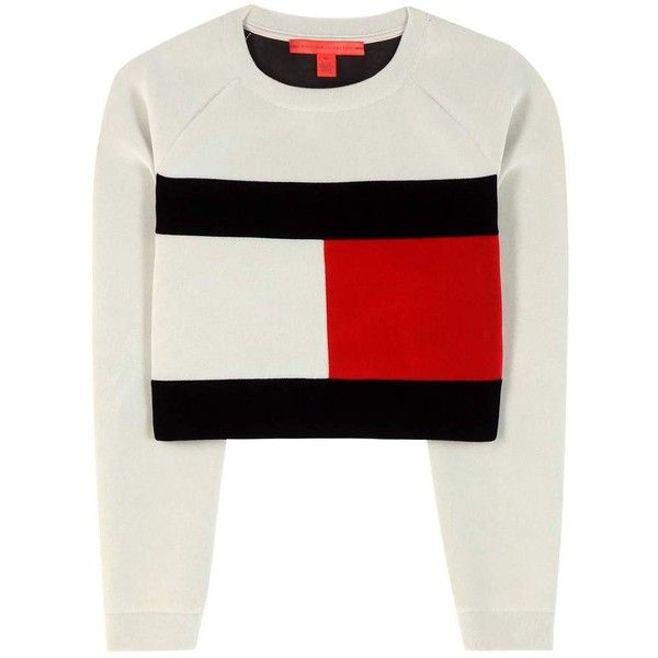 Tommy Hilfiger mytheresa.com Exclusive Flag Cropped Sweatshirt found on Polyvore featuring tops, hoodies, sweatshirts, sweaters, shirts, crop top, jumper, white, white top and tommy hilfiger
