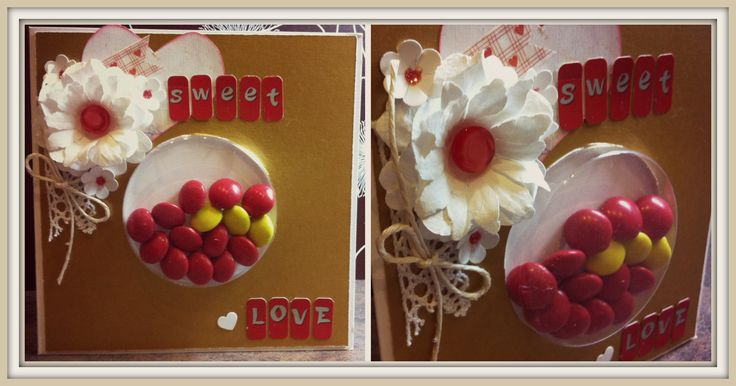 Sweet love post card with candy