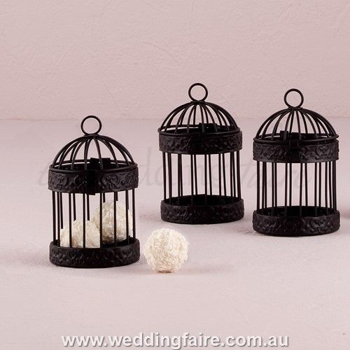 Miniature Classic Round Birdcages - Black (Pkt 4) - The Wedding Faire  #minibirdcages #miniblackbirdcages #bombonieres #favors #birdcagebombonieres #birdcagefavors #miniroundbirdcages #miniroundblackbirdcages