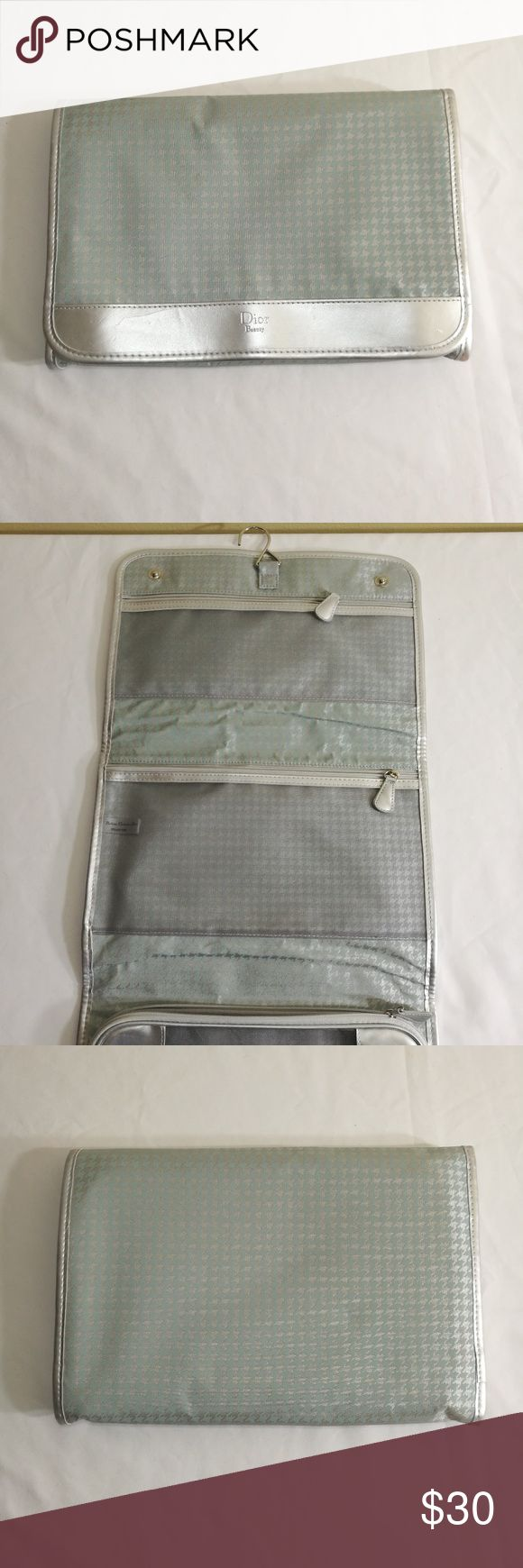 Christian Dior travel makeup case Baby blue and silver