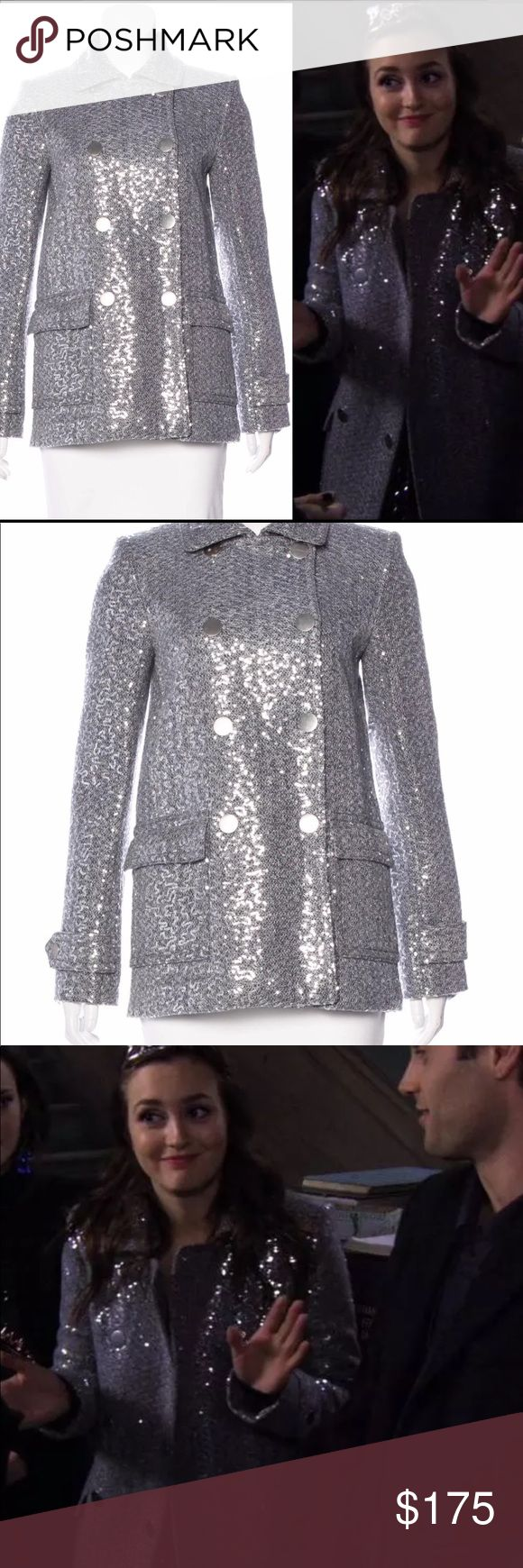 """Alice + Olivia Sequin coat S Blair Waldorf This coat is a must-have for fans of Blair Waldorf's amazing style! Seen on Gossip Girl episode 5x12: Father of the Bride. Size small. Bust: 34"""" Waist: 35"""" Shoulder: 15"""" Length: 27"""" Sleeve: 32""""  60% Polyester, 40% Wool; Lining 95% Polyester, 5% Spandex  Feel free to make me an offer, and check out my other listings for more great Gossip Girl items! Alice + Olivia Jackets & Coats Pea Coats"""