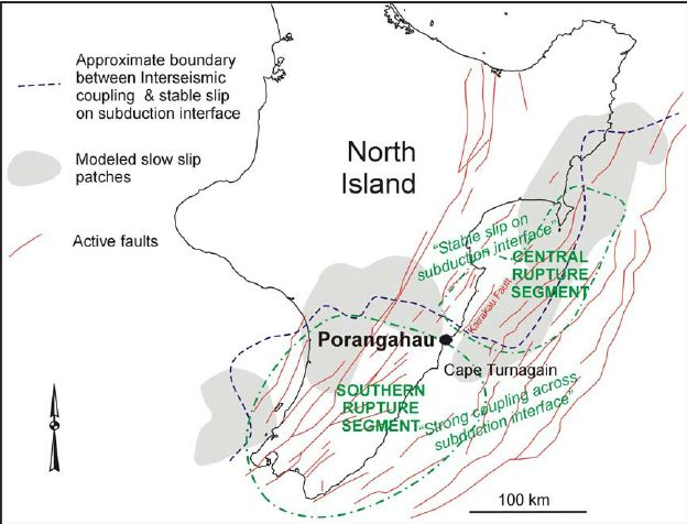 Figure 2 Generalised tectonic setting of the east coast of New Zealand's North Island, showing active faults (from  website/af/), modelled slow slip patches (after Wallace and Beavan 2010), approximate boundary between interseismic coupling and stable slip ( Ø ic 0 0.2 after Wallace et al. 2009), and hypothesised rupture segments for subduction earthquake events (from Wallace et al. 2009).