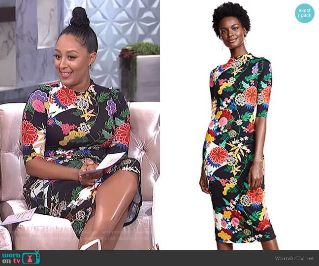 86da04d3b02 Tamera s black floral fitted dress on The Real. Outfit Details  https