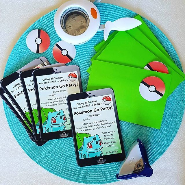 Sending out these invites for my first Pokemon Go party booking. The smart phone design came up great with the aid of a corner punch. I can't wait to run the party itself! (PS - You can download your own invites from the 'EasyBreezyParties ' shop on etsy) #pokemongoparty #easybreezyparties