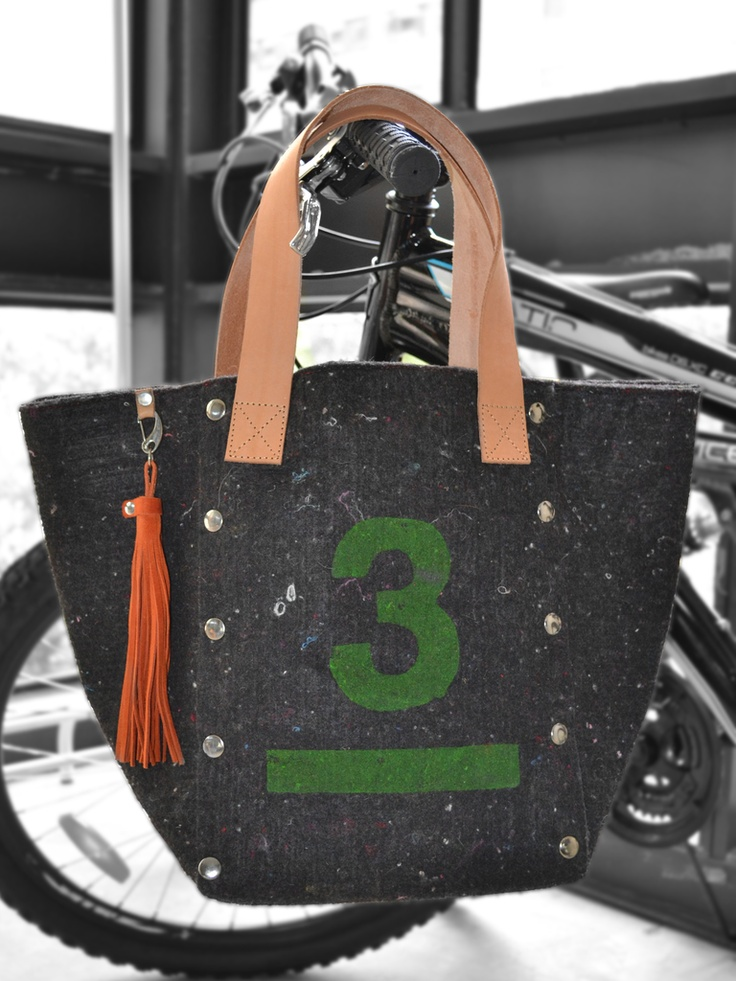 TOTE BAG MAO $150.- Rowhide leather/Wool filter recycled fiber  Grey stamp non toxic, collection available at espiritufolkstore.com