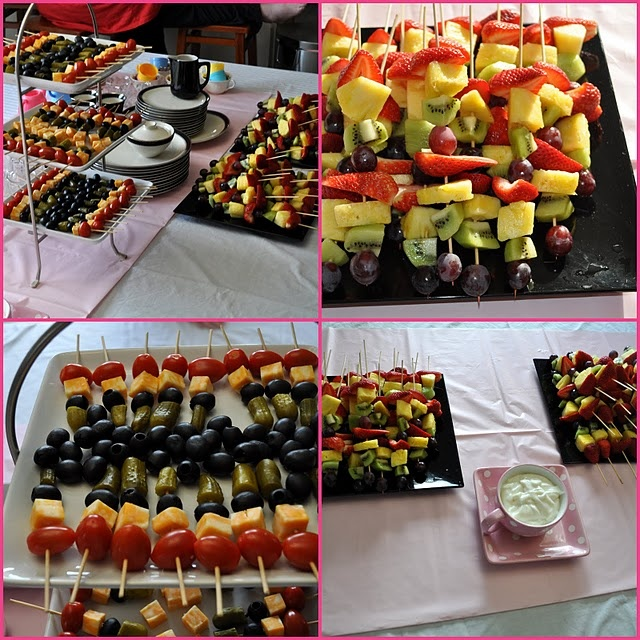 more tiki party food ideas!!   love the olives, cheese, relish sticks!