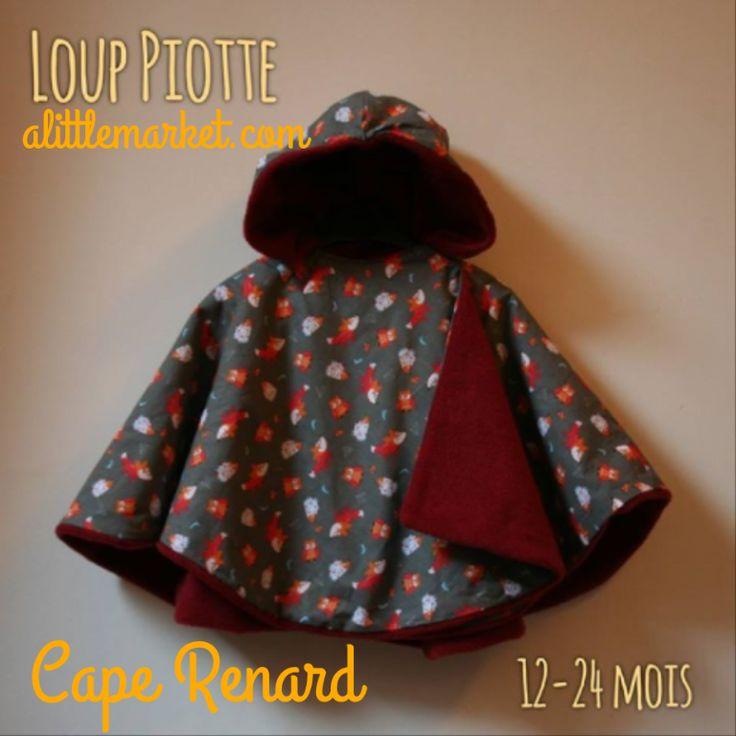 Cape coton /polaire disponible sur alittlemarket boutique Loup Piotte.