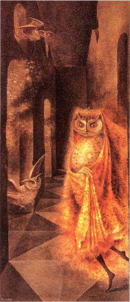 Night Hunt, 1958 by Remedios Varo davidcharlesfoxexpressionism.com #remediosvaro #surrealistpaintings #surrealism