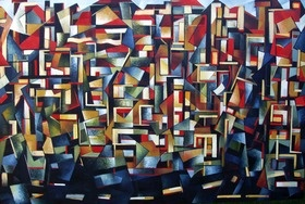A large cubist work depicting a street corner with buildings