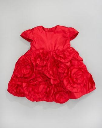 Taffeta Ruffle-Flower Dress by Halabaloo at Neiman Marcus.