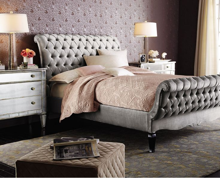 Old Hollywood Glamour Bedroom. The Platinum Velvet Sleigh Bed (Haute  House), Is