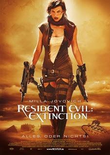 Resident Evil: Extinction (2007)  Το τρίτο και τελευταίο μέρος της σειράς ταινιών RESIDENT EVIL. Βασισμένο και στο πολύ δημοφιλές video game , το RESIDENT EVIL 3 συνεχίζει την επιτυχία των προηγούμενων. Η Alice (Μιλα Γιοβοβιτς) προσπαθεί να εμποδίσει έναν φονικό ιό που απειλεί να μετατρέψει κάθε ανθρώπινο ον σε αθάνατο .