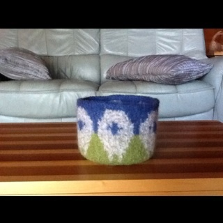 Felted sheep bowl