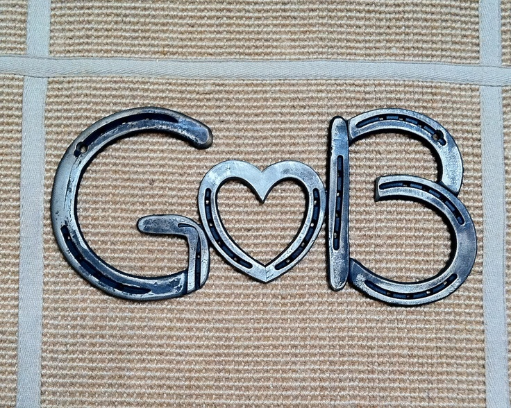 Horseshoes sign, MONOGRAM, 3 LETTERS, iron steel initials, wedding shower, birthday, personalized gift,  A to Z, CUSTOM, Made to order. $159.00, via Etsy.