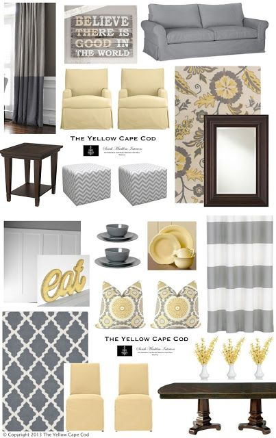 Love yellow and grey with dark wood. Perfect for my living room.
