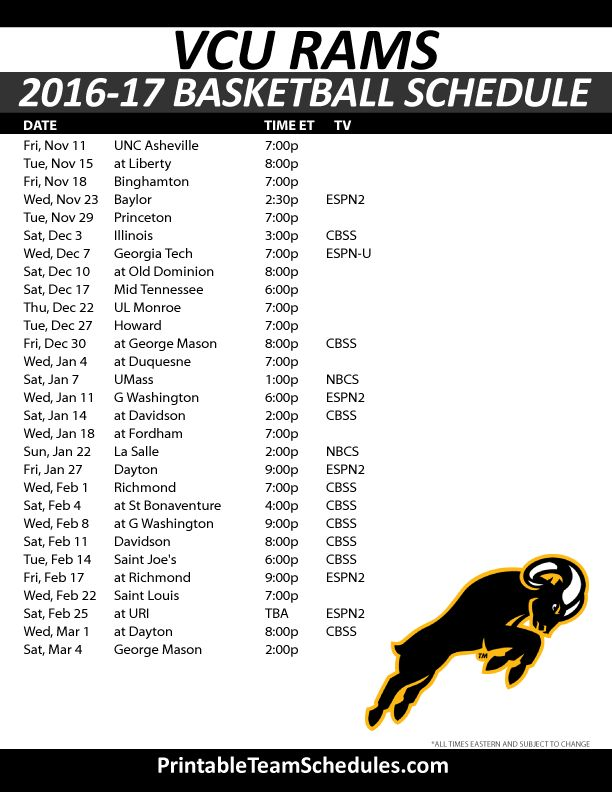 VCU Rams Basketball Schedule 2016-17. Print Here - http://printableteamschedules.com/NCAA/vcuramsbasketball.php
