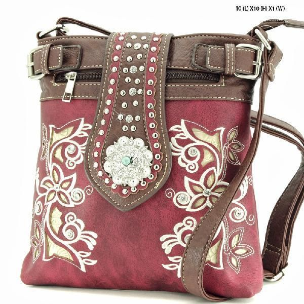 Western Rhinestone Gun Concealed Carry PURSE MESSENGER CROSSBODY PURSE-BURGUNDY #Trendy #MessengerCrossBody