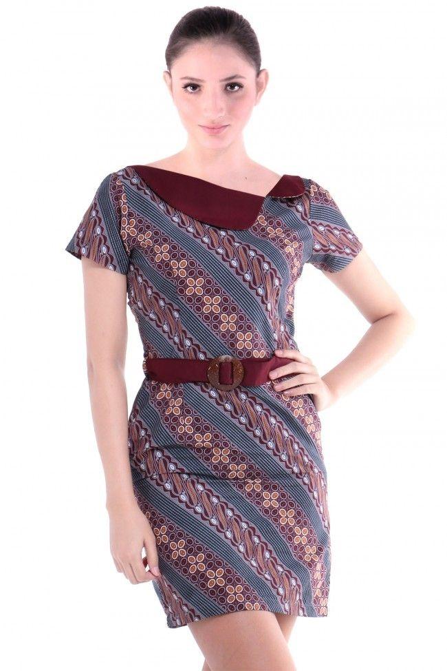Tampilan-Formal-Dress-Batik-yang-Simple.jpg (650×974)