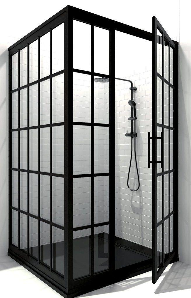 Gridscape Gs1 3 Panel Corner Shower Door In Black With Clear Glass Corner Shower Doors Shower Doors Corner Shower Enclosures