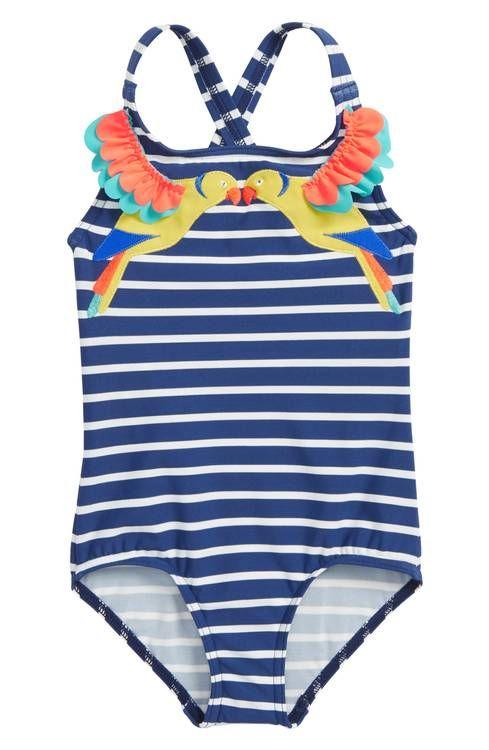 93a92e64da Main Image - Mini Boden Tropical Birds One-Piece Swimsuit (Toddler Girls,  Little Girls & Big Girls)