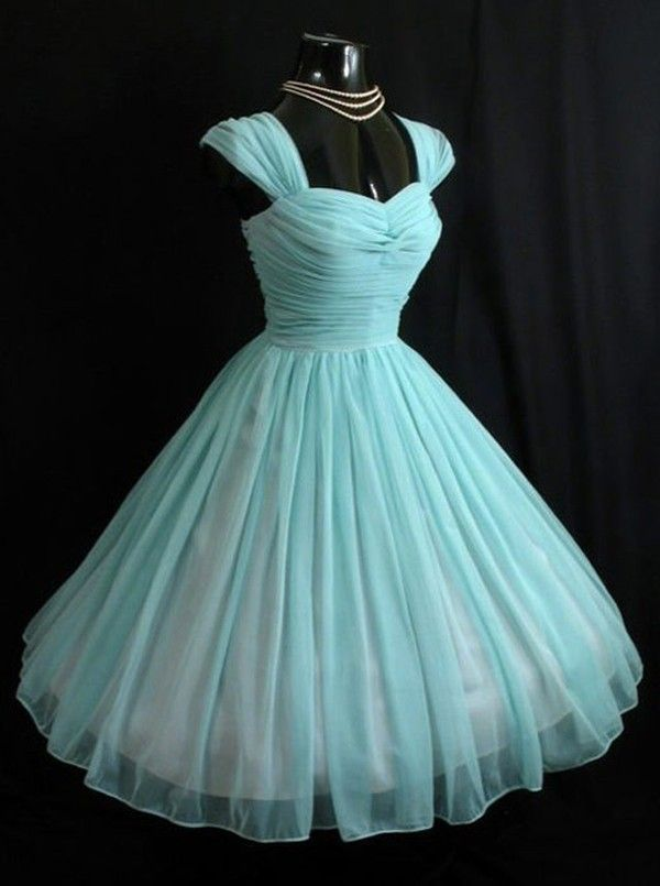 Simple-dress 1950s Vintage Turquoise Short Chiffon Capped Sleeve  Prom Dresses Homecoming Dresses Party Dresses CHHD-70703