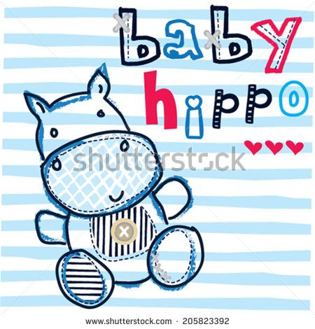 cute hippo baby striped background vector illustration - stock vector