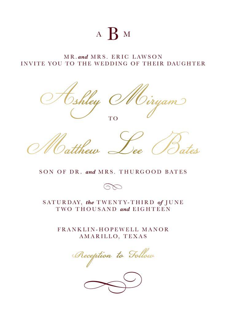 138 best Wedding Invitations images on Pinterest | Gold foil, Gold ...