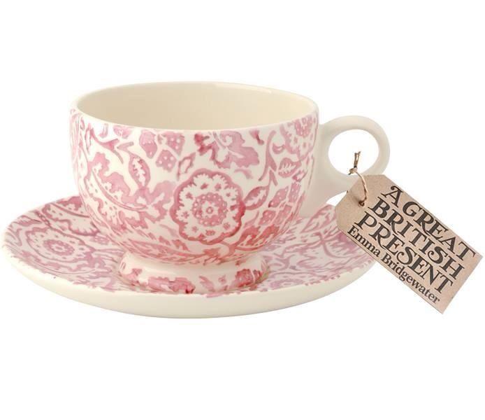Emma Bridgewater Pink Wallpaper Breakfast Cup & Saucer 2014
