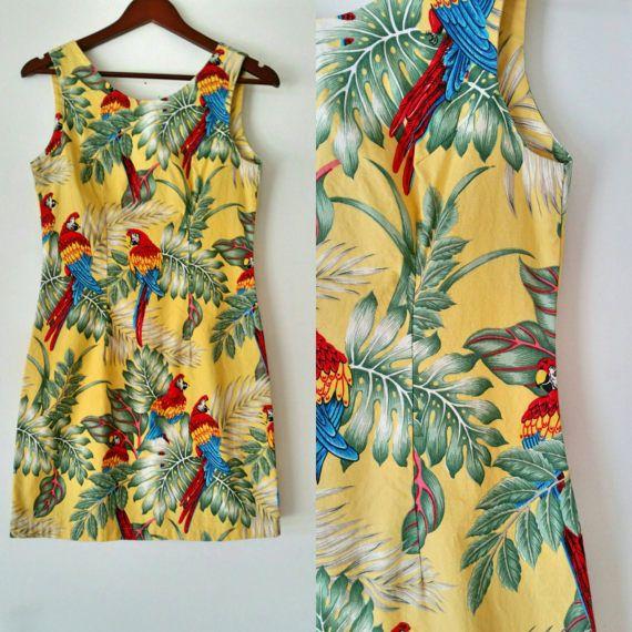 Vintage 80s Cotton Bird Print Hawaiin Dress Yellow Tropical