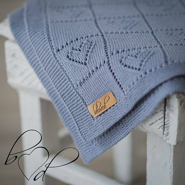 Ravelry: Knit baby blanket with hearts pattern by belovedLT