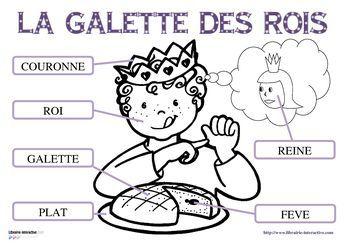 17 fiches pour la maternelle (PS, MS GS) pour découvrir, lire et écrire les mots du vocabulaire de l'épiphanie (roi, reine, galette des rois, fève, part, plat, couronne. )