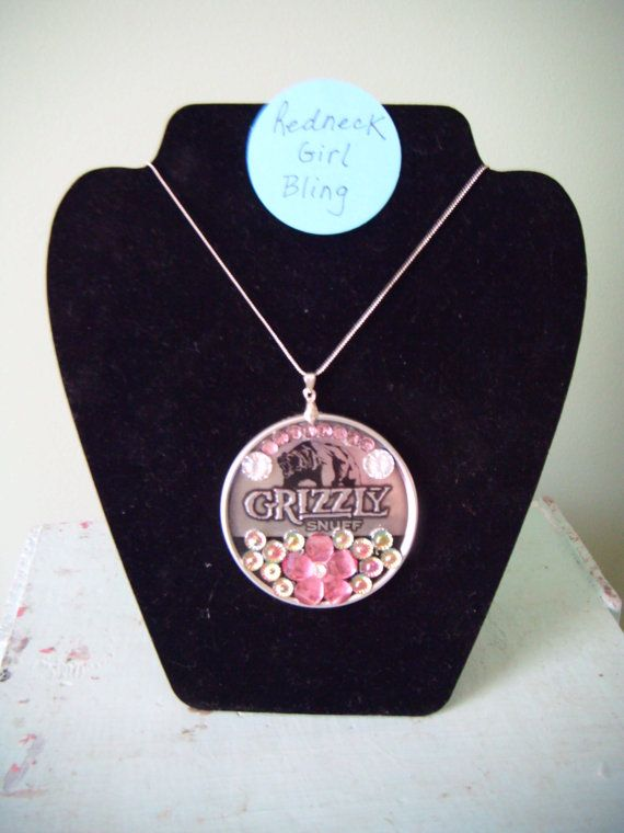 Redneck Girl Bling Grizzly Snuff Pendant by VintageFlowers1219, $10.75