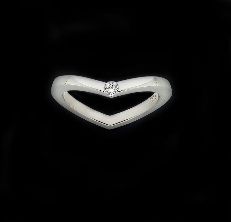 Platinum and diamond 'Hidden Heart' ring.