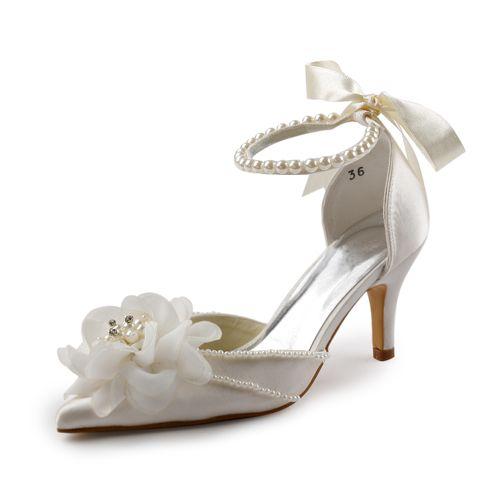 Amazon.com: Elegantpark EP11052 Women's Pointed Toe Pearls Strap Flower Stiletto Heel Satin