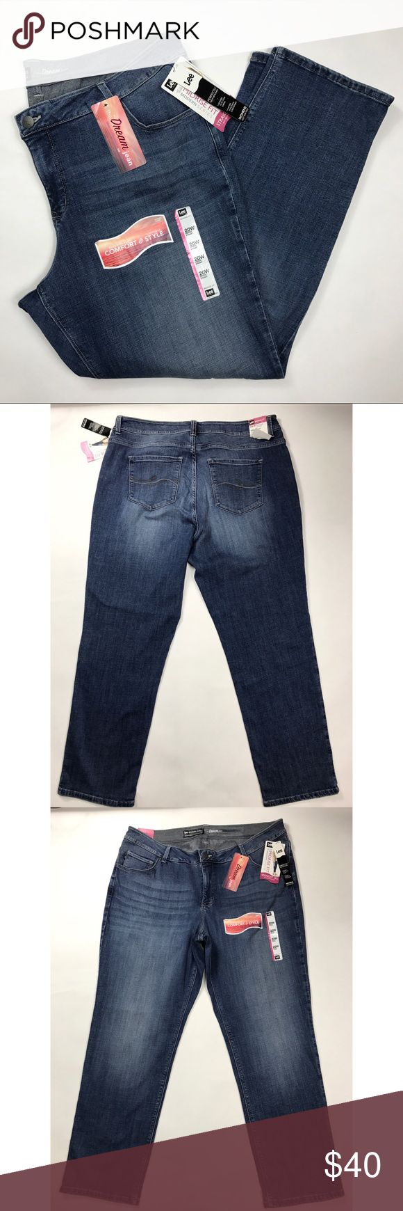 NWT LEE JEANS Straight Leg Jeans ~ Plus sz 20W M NWT LEE JEANS Mid Rise Fit Dream Straight Leg Jeans ~ Plus sz 20W M  Bin 102 Actual measurements:   waist:  40 inches unstretched   rise: 11 inches   inseam: 30.5 inches  Check out my other items! Lee Jeans Straight Leg