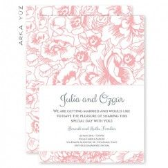Klasik Vintage Çiçek - Modern Düğün Davetiyesi Tasarım: ©  Dört Köşe Davetiye
