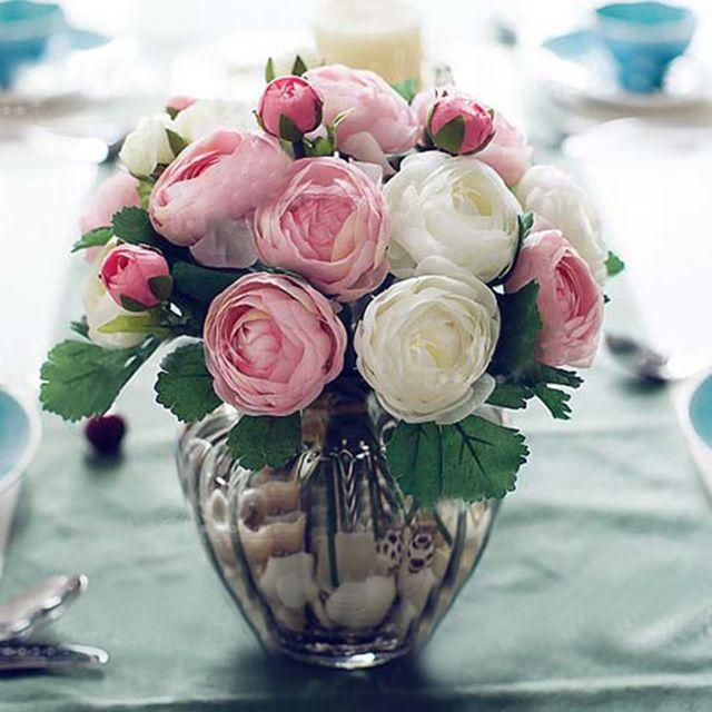 10 шт. Настоящее Сенсорный Латекс Искусственный Камелия Цветок Букеты Главная Свадебный Декор Декоративные Цветы и Венки