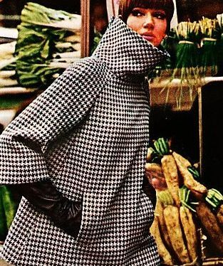 """fashion-of-the-60s: """"Houndstooth coat designed by Geoffrey Beene, 1960s. (x) """""""