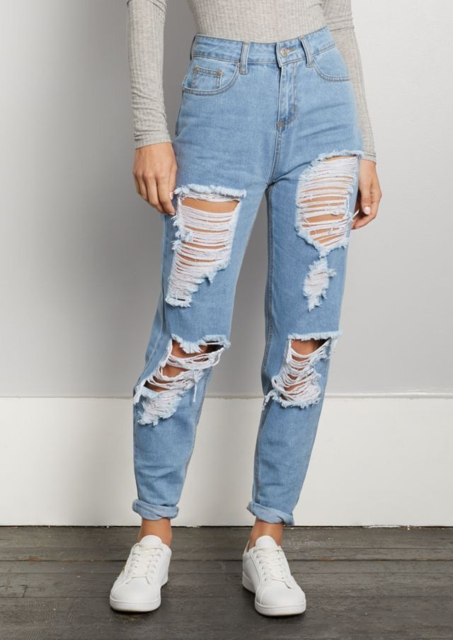Fornecedores Das Grifes Cute Ripped Jeans Ripped Mom Jeans Ripped Jeans Outfit