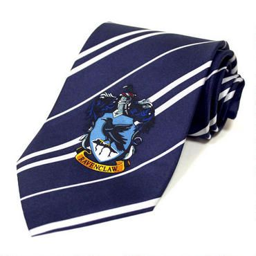 This wonderful Ravenclaw tie is based on the wardrobe featured in the Harry Potter movies. This blue and gray 100% silk tie measures 56 inches by 3.8 inches. In addition, the tie has a beautiful Ravenclaw house logo on one end. For children ages 8 and up as well as adults.