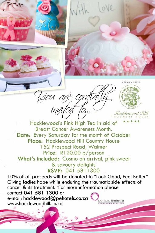 High Teas at Hacklewoods for Breast Cancer Awareness Month   South Africa Portfolio Travel Blog